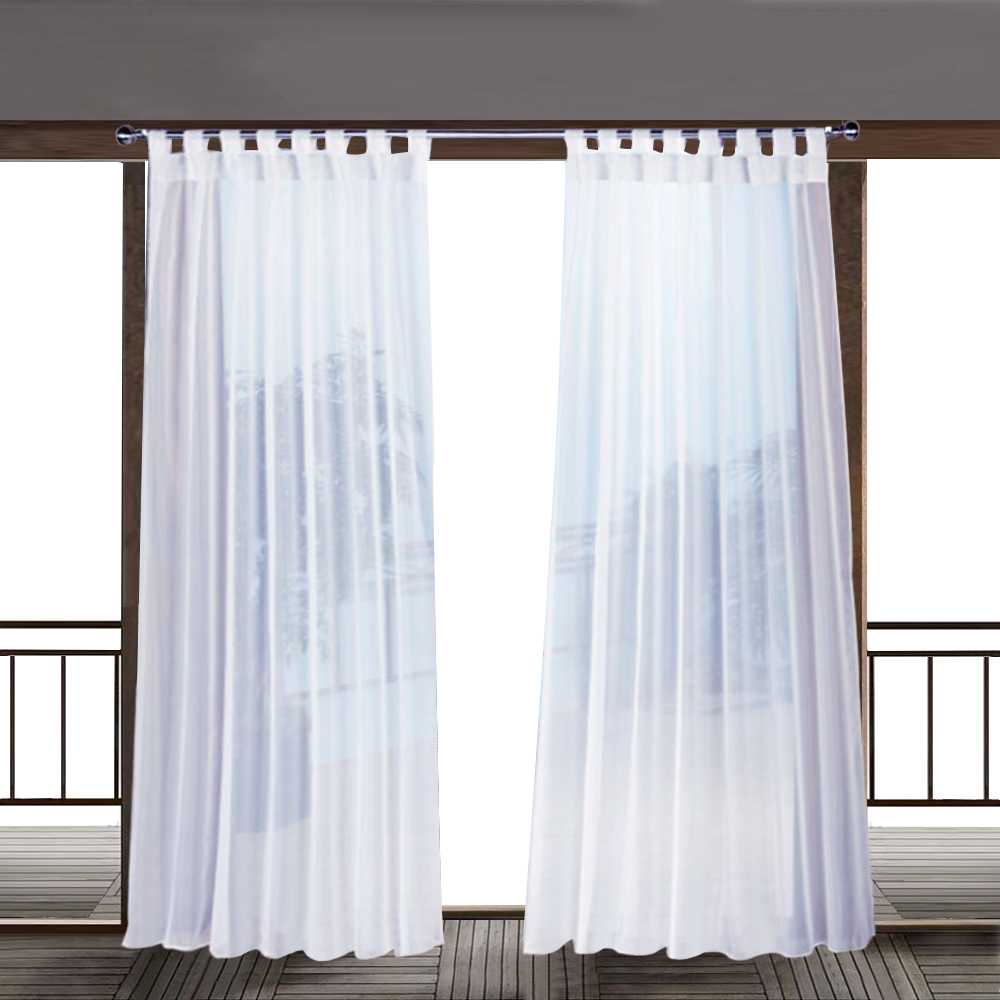 Outdoor Sheer Curtain White Sticky Tab Top for Hanging & Unsling Without Taking Down The Rod, White Voile Oudoor Indoor Curtiain for Patio Gazebo Porch, 1 Rope,Sold as 1 Panel
