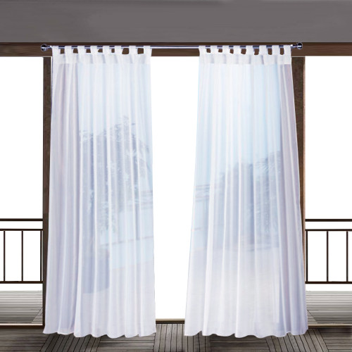 Outdoor Sheer Curtain White Sticky Tab Top for Hanging & Unsling Without Taking Down The Rod,Sold as 1 Panel