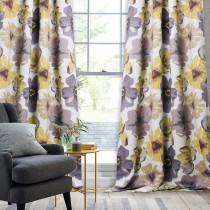 Multicolor Flower Pattern Printed Blackout Curtain (1 Panel)