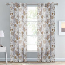 Custom Pastoral Floral Art Pattern Printed Voile Semi Sheer Curtain for Living Room by NICETOWN ( 1 Panel )