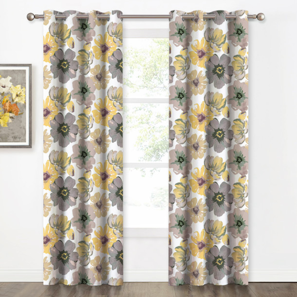 Custom Multicolor Flower Pattern Short Blackout Pattern Thick Thermal Insulated Blackout Curtain by NICETOWN ( 1 Panel )