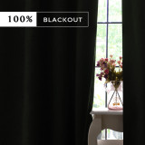 Custom 2 Layers 100% Best Blackout Complex Grid Thin Lines Pattern Thick Thermal Insulated Blackout Curtain by NICETOWN ( 1 Panel )