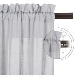 Custom Semi Sheer Curtain-Linen White Sheer Textured Short Sheer Curtain for Kitchen by NICETOWN ( 1 Panel )