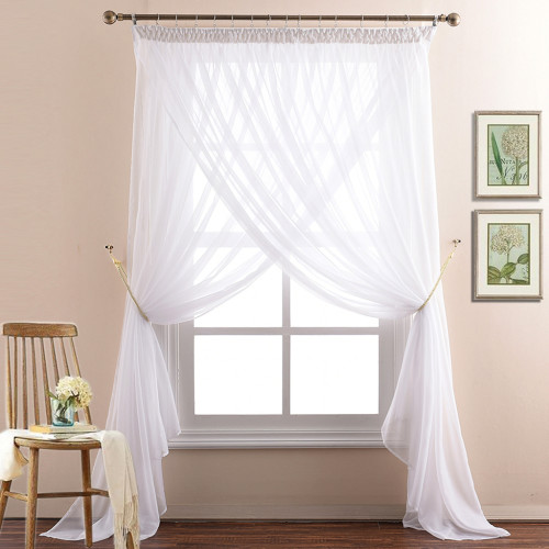 White 2 Layers Sheer Curtain with Top Pencil Pleat Design