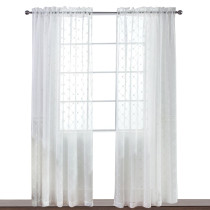 Trellis Embroidery Sheer Curtain - Diamond Embroidered Crinkled Rod Pocket Voile Curtain