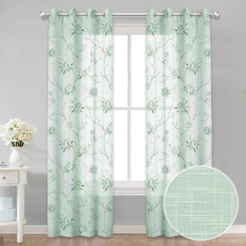 Custom Flower Wisteria Pattern Linen Texture Semi-Sheer Curtain Privacy Drape for Living Room / Bedroom by NICETOWN ( 1 Panel )
