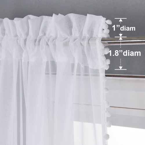 Country Style with Lovely Pom-Pom Brim White Voile Sheer Curtain (1 Panel)