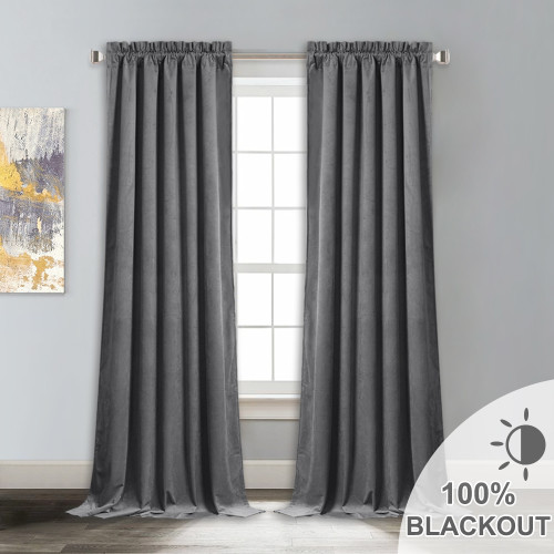 Custom 100% Blackout Velvet Curtain Thermal Insulated Soudproof Drapes for Living Room / Bedroom-Black Lining by NICETOWN ( 1 Panel )
