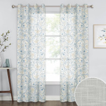 Botanic Floral Printed Pattern Linen Textured Semi-Sheer Curtain (1 Panel)