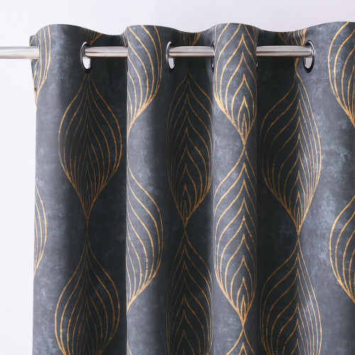 Wave Line Geometric Print Velvet Curtain,Sold as 1 Panel