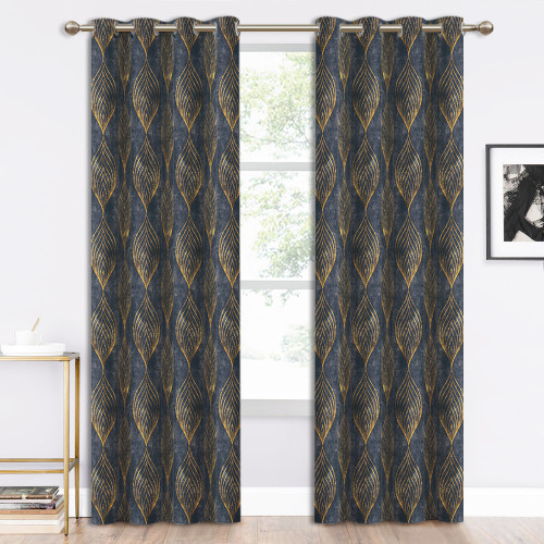 NICETOWN Gold Wave Lines Peacock Tail Pattern Printed Velvet Curtain (1 Panel)