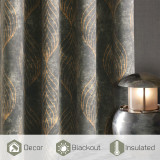Custom Gold Wave Lines Peacock Tail Pattern Velvet Curtain Thermal Thick Insulated Blackout Curtain for Bedroom by NICETOWN ( 1 Panel )