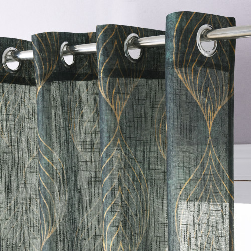 Semi Sheer Curtain Peacock Feathers Pattern Linen Textured Window Curtain for Bedroom Dinning Room Living Room