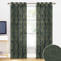 NICETOWN Leaf Pattern Linen Texture Semi-sheer Curtain (1 Panel)