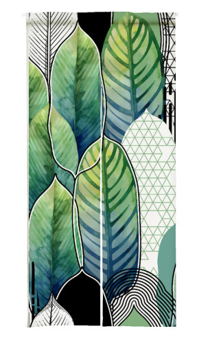 NICETOWN Green Leaves Print Japanese Noren Doorway Curtain (1 Panel)