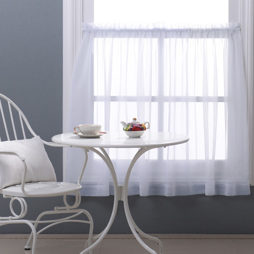 Voile Textured Small Window Sheer Valance Sheer Tier for Kitchen, Short Sheer Curtain for Cafe, Sold as 1 Panel