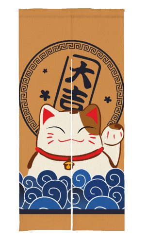 Lucky Cat Print Japanese Noren Doorway Curtain  (1 Panel)