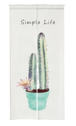 Cactus Print Doorway Curtain Japanese Noren, Sold as 1 Panel