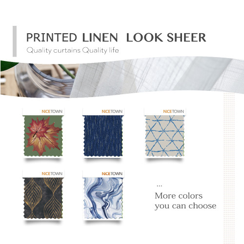Prints Linen Look Slub Sheer Fabric Swatch Refundable Order Amount Over $399