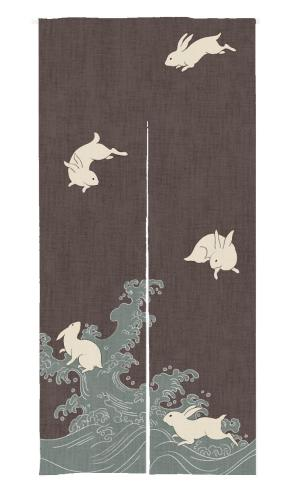 Rabbit Pattern Print Japanese Noren Doorway Curtain