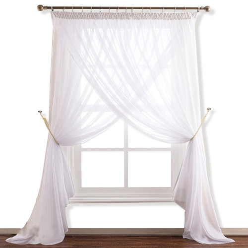 NICETOWN White 2 Layers Sheer Curtain with Top Pencil Pleat Design