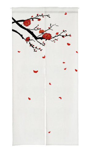 Scattered Plum Print Japanese Noren Doorway Curtain
