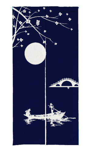 NICETOWN Lake Moon Print Japanese Noren Doorway Curtain (1 Panel)