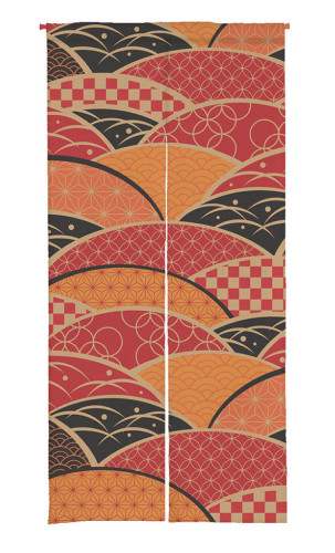 Colorful Sector Print Japanese Noren Doorway Curtain (1 Panel)