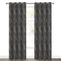 Leaf Weave Printed Pattern Room Darkening Blackout Curtain (1 Panel)