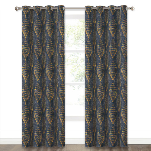 Print Curtain Room Darkening, Leaf Design Window Curtain Panel