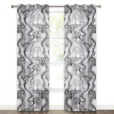 Custom Geometric Curve Printed Linen Texture Semi-Sheer Curtain Privacy Drape for Living Room / Bedroom by NICETOWN ( 1 Panel )