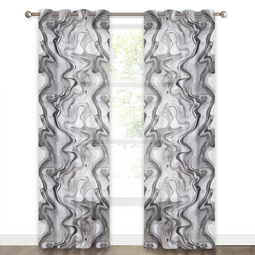 Geometric Curve Printed Pattern Linen Texture Translucent Semi-Sheer Curtain (1 Panel)