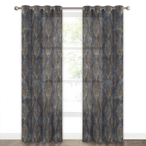 Leaf Pattern Linen Texture Semi-sheer Curtain (1 Panel)