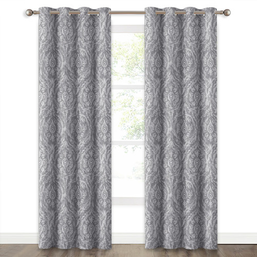 NICETOWN Vintage Damask with Faux Linen Pattern Blackout Curtain(1 Panel)