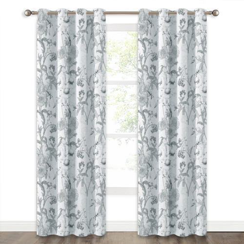 Custom Leaves & Floral Pattern Blackout Pattern Thick Thermal Insulated Blackout Curtain by NICETOWN ( 1 Panel )