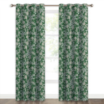 Luxury Floral Print Blackout Curtain(1 Panel)