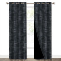 NICETOWN Complex Grid Thin Lines Pattern Noise Reducing 100% Blackout Curtain (1 Panel)