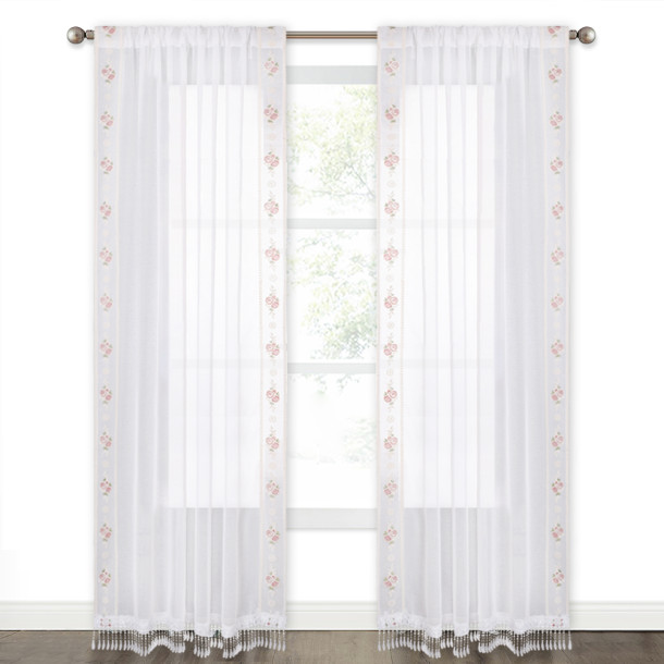 NICETOWN Rose Rassel Tulle Floral with Leaves Pattern Faux Linen Sheer Curtain (1 Panel)
