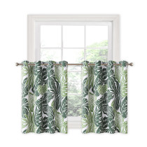 Custom Banana Leaf Pattern Printed Thermal Insulated Blackout Short Curtain for Bedroom by NICETOWN ( 1 Panel )