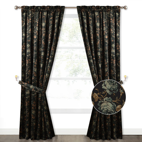 Custom Floral Printed Velvet Curtain Thermal Insulated Blackout Curtain for Bedroom by NICETOWN ( 1 Panel )