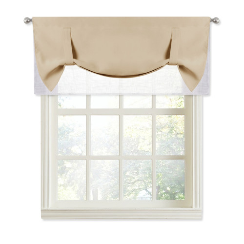 Two-Tone Rod Pocket Window Curtain Valance with Pick-Up Accents