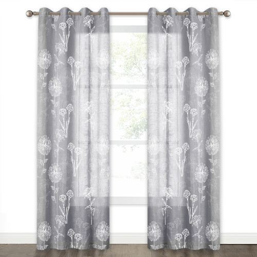 White Blossom Pattern Printed Semi Sheer Linen Curtain(1 Panel)