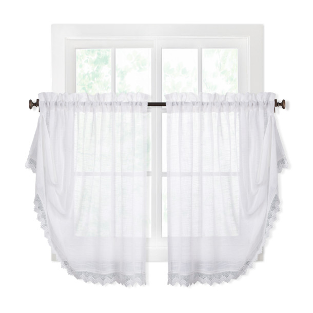 Custom Faux Linen Sheer Window Curtain Valance Shape For Kitchen / Bedroom by NICETOWN ( 1 Panel )