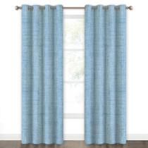 Faux Linen Texture Pattern 100% Blackout Curtain(1 Panel)
