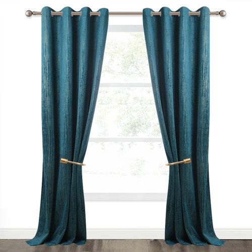 NICETOWN Gold Foil Line Striped Pattern Printed Velvet Curtain (1 Panel)