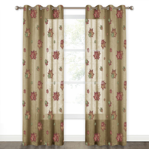NICETOWN Maple Leaf Textured Semi Sheer Curtain in Atrovirens(1 Panel)