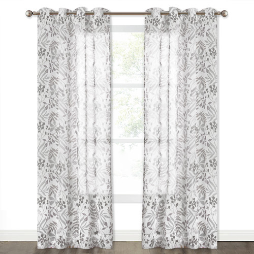 Hierarchical Fruit and Leaf Pattern Faux Linen Semi-Sheer Curtain (1 Panel)