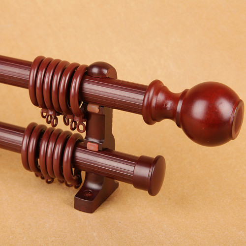 Solid Wood Roman Rod Thickening Curtain Rod Single Pole Double Pole Track, Sold as 1 Pole