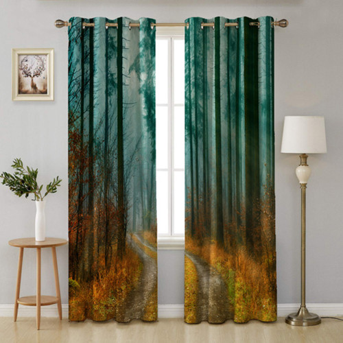 Printed Curtain for Bedroom, Forest and Path Scene Home Décor, Thermal Insulated Window Treatment Backdrop for Office/Sitting Room, Sold as 2 Panels