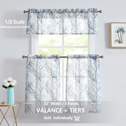 Kitchen Curtain Window Tree Branch Print Semi-Sheer Tier for Bathroom Small Café Curtain Panel, Sold as 1 Panel